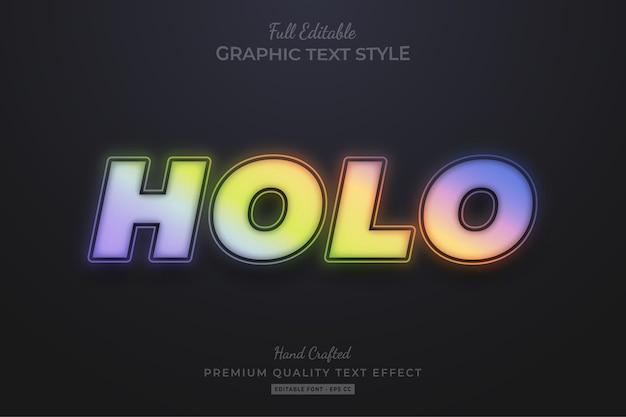 Efeito de texto editável de desfoque de gradiente holográfico