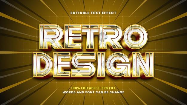 Efeito de texto editável de design retro em estilo 3d moderno
