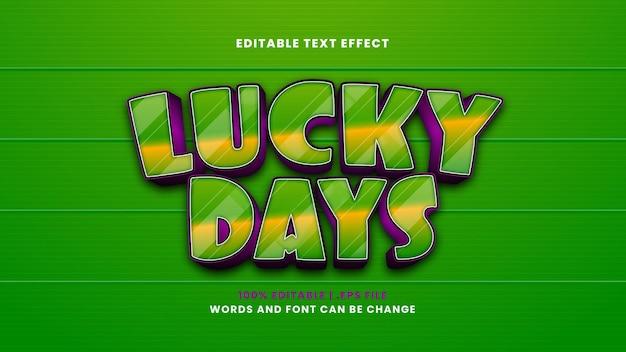 Efeito de texto editável de dias de sorte em estilo 3d moderno