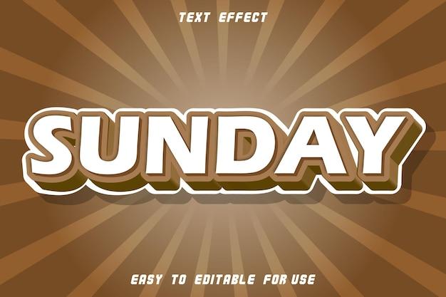 Efeito de texto editável de domingo em relevo estilo vintage