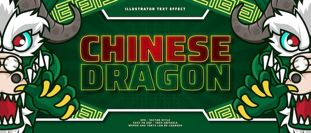 Efeito de texto editável de dragão chinês com ilustração de personagem de desenho animado
