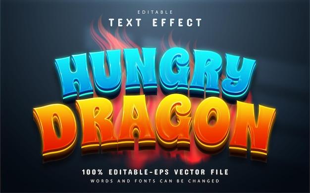 Efeito de texto editável de dragão faminto