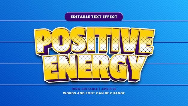 Efeito de texto editável de energia positiva em estilo 3d moderno