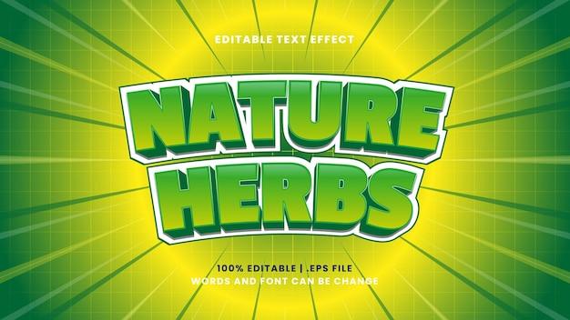 Efeito de texto editável de ervas naturais em estilo 3d moderno