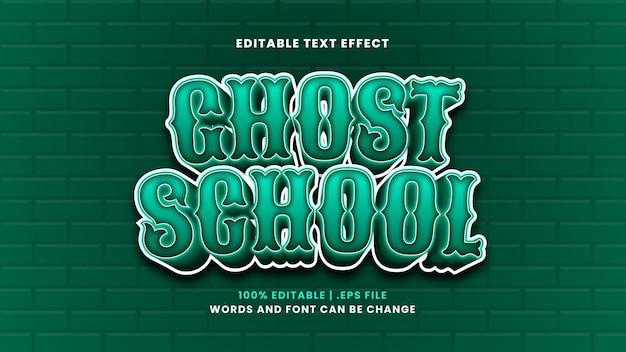 Efeito de texto editável de escola fantasma em estilo 3d moderno