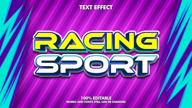 Efeito de texto editável de esporte de corrida