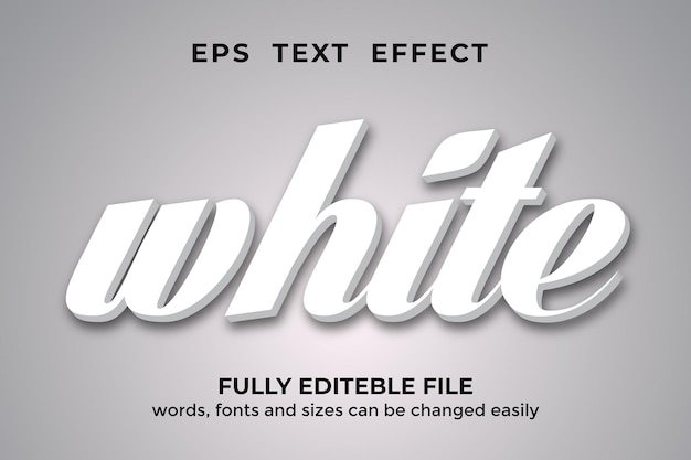 Efeito de texto editável de estilo 3d branco premium vector