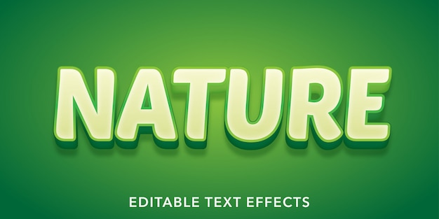 Efeito de texto editável de estilo 3d nature text