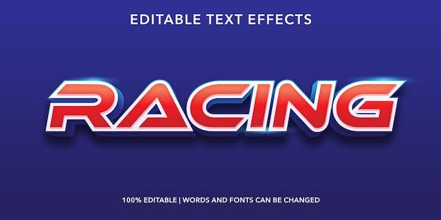 Efeito de texto editável de estilo 3d racing