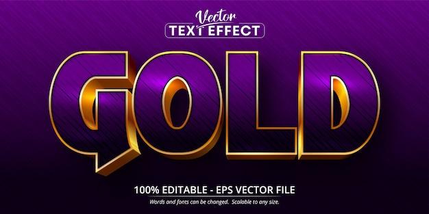 Efeito de texto editável de estilo brilhante de texto roxo e dourado