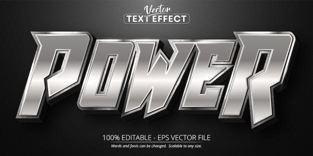 Efeito de texto editável de estilo de cor prata brilhante power text