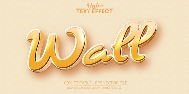 Efeito de texto editável de estilo de desenho animado de parede