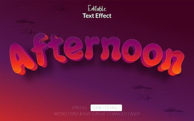 Efeito de texto editável de estilo de efeito de texto à tarde