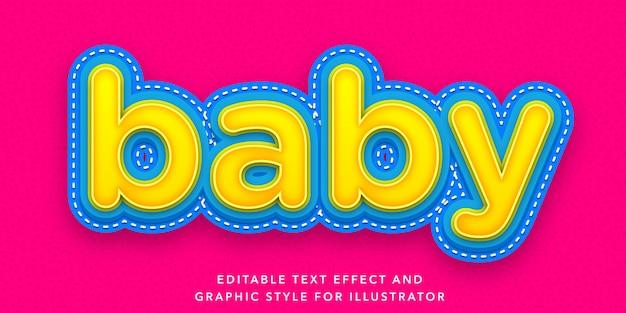 Efeito de texto editável de estilo de letra de bebê