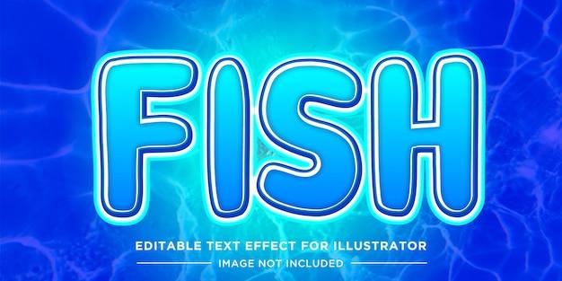 Efeito de texto editável de estilo de peixe e água