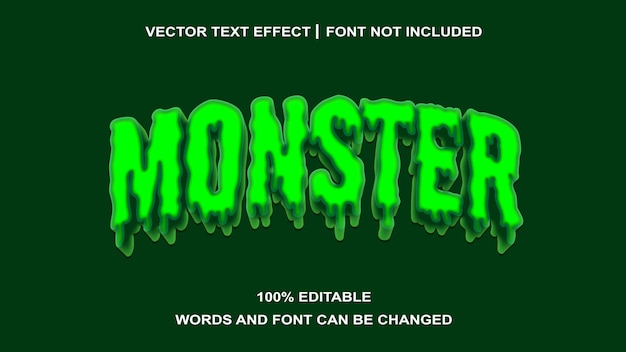 Efeito de texto editável de estilo de texto verde do monstro