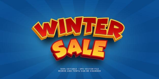 Efeito de texto editável de estilo de venda de inverno premium