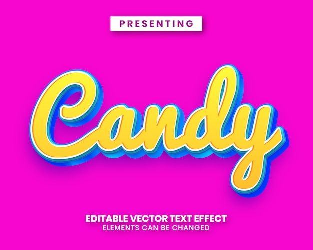 Efeito de texto editável de estilo doce doce