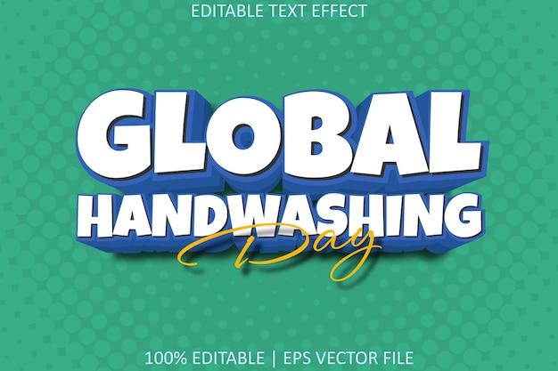 Efeito de texto editável de estilo moderno de dia de lavagem global das mãos