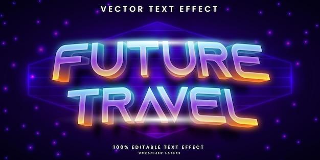 Efeito de texto editável de estilo retro de viagens futuras
