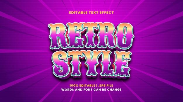 Efeito de texto editável de estilo retro em estilo 3d moderno