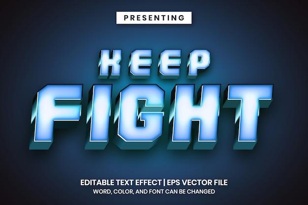 Efeito de texto editável de estilo sólido de metal azul
