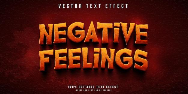 Efeito de texto editável de estilo terror em sentimentos negativos