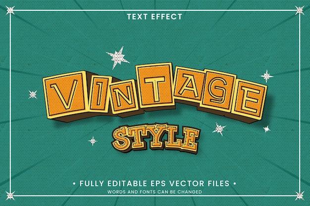 Efeito de texto editável de estilo vintage