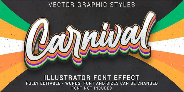 Efeito de texto editável de estilos gráficos de carnaval