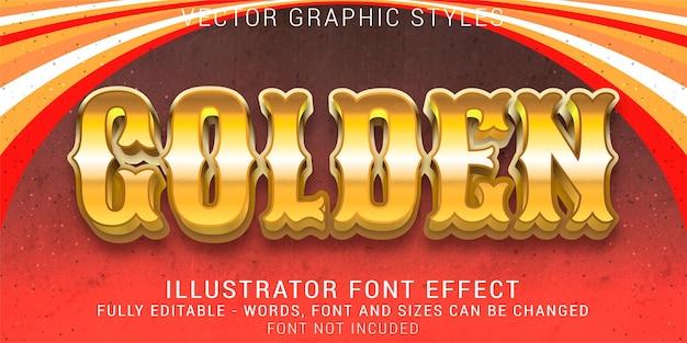 Efeito de texto editável de estilos gráficos vintage em negrito dourado