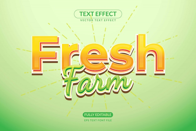 Efeito de texto editável de fazenda fresca