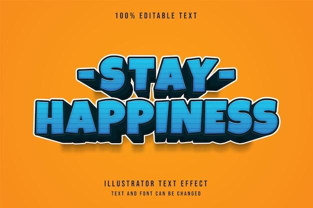 Efeito de texto editável de felicidade com gradação azul