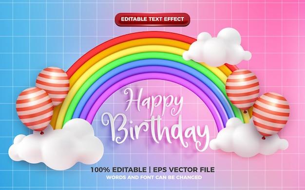 Efeito de texto editável de feliz aniversário com um lindo estilo de desenho animado do arco-íris