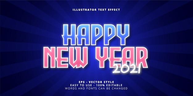 Efeito de texto editável de feliz ano novo de 2021
