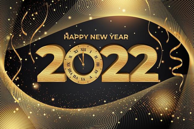 Efeito de texto editável de feliz ano novo de 2022 com relógio estilo backround ouro preto