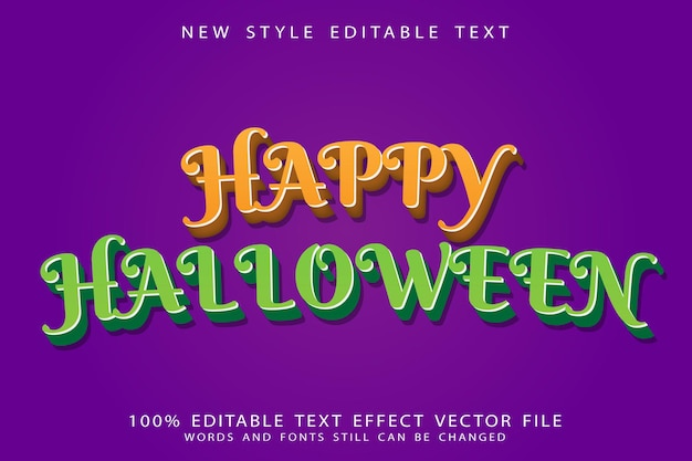 Efeito de texto editável de feliz dia das bruxas em relevo estilo moderno