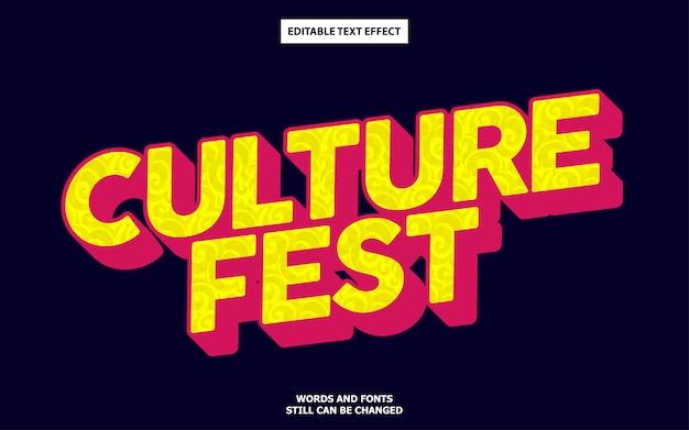 Efeito de texto editável de fest de cultura