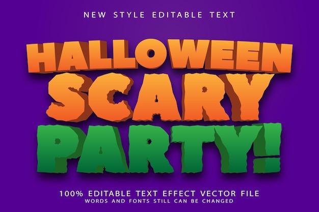 Efeito de texto editável de festa assustadora de halloween em relevo estilo moderno