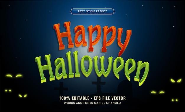 Efeito de texto editável de festa de halloween em vetor premium