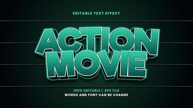 Efeito de texto editável de filme de ação em estilo 3d moderno