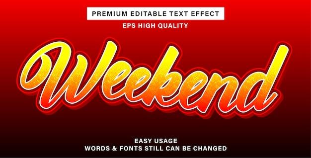 Efeito de texto editável de fim de semana