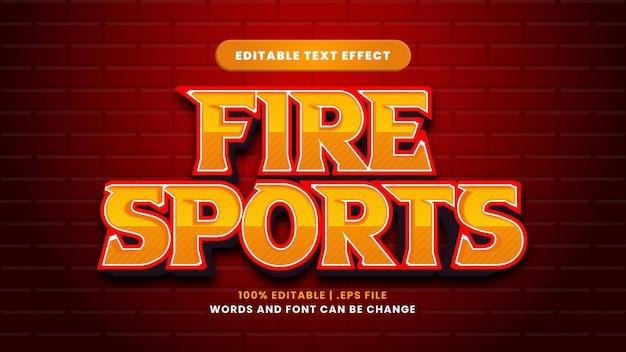 Efeito de texto editável de fire sports em estilo 3d moderno