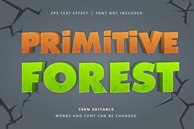 Efeito de texto editável de floresta primitiva