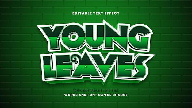 Efeito de texto editável de folhas jovens em estilo 3d moderno