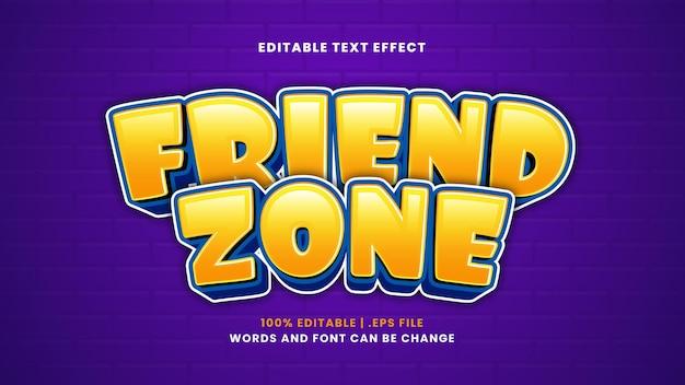 Efeito de texto editável de friend zone em estilo 3d moderno