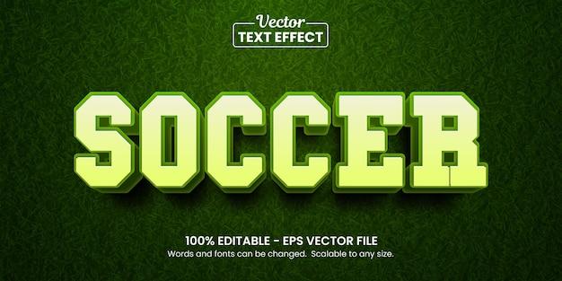 Efeito de texto editável de futebol e futebol