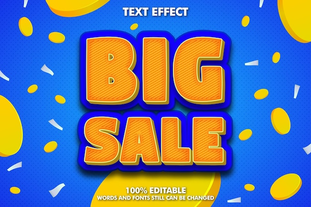 Efeito de texto editável de grande venda e plano de fundo para