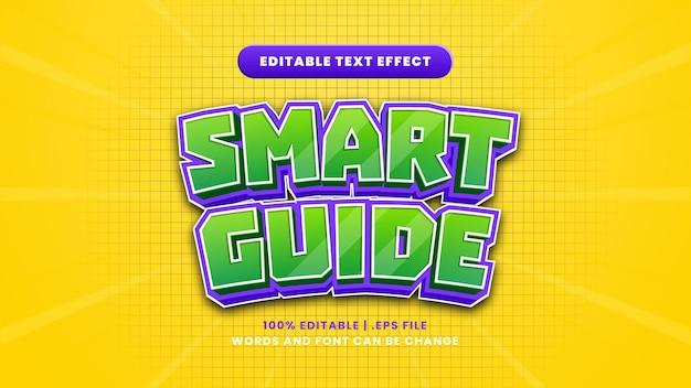 Efeito de texto editável de guia inteligente em estilo 3d moderno