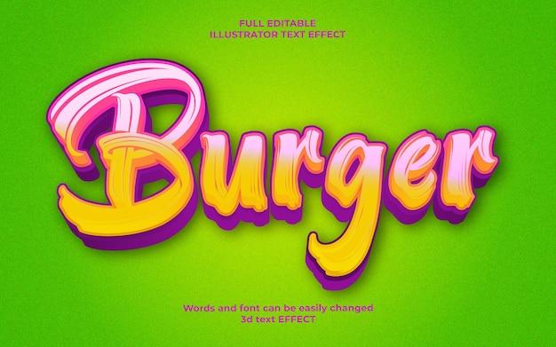 Efeito de texto editável de hambúrguer