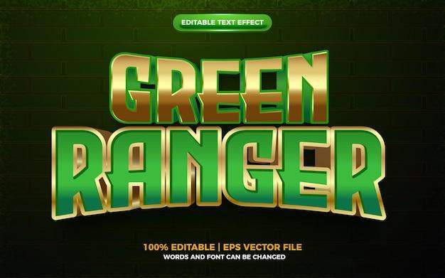 Efeito de texto editável de herói de desenho animado 3d green ranger gold